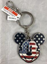 Disney Parks Mickey Mouse USA Americana Head Patriotic Keychain Heavy Metal NEW