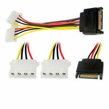 15cm 15Pin SATA Male To 4 Pin Dual Female Molex Cable Serial ATA Lead For PC CPU