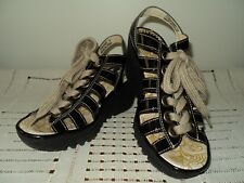 FLY LONDON Yito Black Patent Caged Lace Up Wedge Sandals Women 38 or US 7.5 / 8
