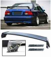 For 96-00 Civic EK 4Dr MUGEN Style Rear Trunk Spoiler Lip + 2 Pcs Black Emblems