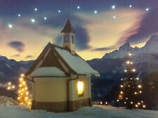 LED Wandbild mit Beleuchtung Kirche im Winter Leuchtbild 40x30 cm