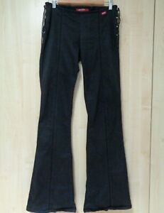 """Miss Sixty Size 31 Tie Side Black Trousers 35"""" Leg Leather Lacing Bootcut Flare"""