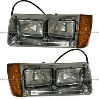 Headlight w/ Bezel & LED Corner Light & Housing Base LH RH Fit Freightliner FLD