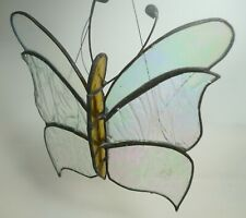 Clear Stained Glass Butterfly Wing Fairy Nymph Accent Wall Art Hanging
