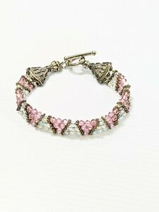 Artisan Silver Tone Pink and Clear Crystal Beaded Woven Style Bracelet 8.5 Inch