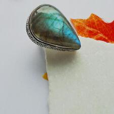 Labradorit groß blau grün Nostalgie Design Ring, Ø 19,0 mm Silber plattiert neu