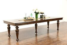 """Square Oak Antique 1900 Dining Table, 6 Leaves, Extends 9' 9"""""""