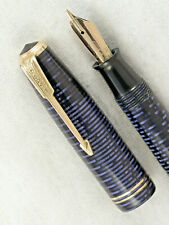 VINTAGE 1947 AZURE BLUE STRIPED PARKER VACUMATIC  FOUNTAIN PEN ~ RESTORED!