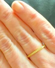 2 mm CZ Milgrain Stackable Yellow Gold Eternity Bridal Band Ring 925 Size 8
