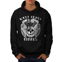 Wellcoda Rider Death Skull Mens Hoodie, Biker Casual Hooded Sweatshirt
