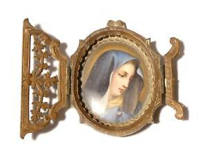 Antique Virgin Mary Hand Painted Porcelain Portrait Miniature Wooden Frame A/F