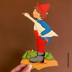 Märchen-Holzbild ALT 1950er 22cm Hans im Glück Vintage Kinderzimmer-Deko DDR?