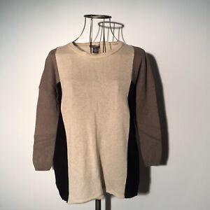 CHELSEA & THEODORE Color Block 100% Cashmere Sweater MEDIUM Beige/Taupe/Black