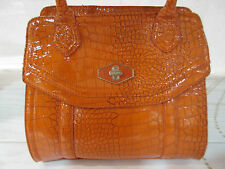 Purse Nine West Orange Patent Crocodile Leather Bottom Rivets Zipper Top NWT P17