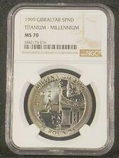 1999 Gibraltar 5 Pound Titanium Millennium Coin - NGC MS 70