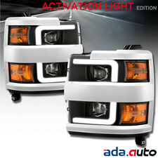 Fit 2015-2019 Chevy Silverado 2500/3500 Black LED DRL Projector Headlights Pair