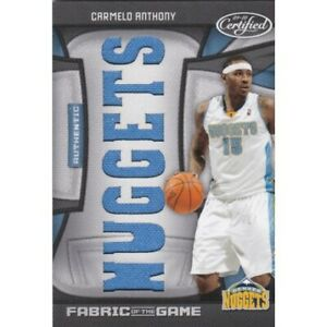 CARMELO ANTHONY 2009 PANINI CERTIFIED FABRIC OF THE GAME FOG-CA 18/25