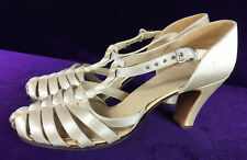 20s 30s Satin Sandal Ballroom Slippers T-Strap Shoes As Is Display Collect