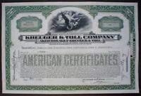 Krueger & Toll Stock Certificate 100$, 1929