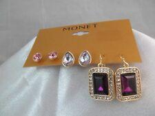NWT MONET GOLD & PURPLE RHINESTONES DANGLE EARRINGS 3PC SET, Lavender & Pink