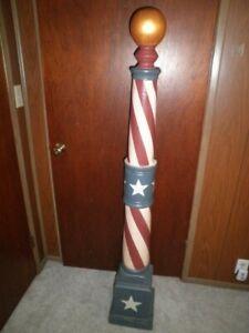 """HUGE Antique Sidewalk Barber Pole 60"""" Solid Wood RED-WHITE-BLUE-Vintage HEAVY"""