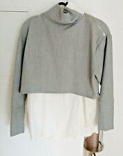 Zara Damen Zweiteiler Bluse Stehkragen Pullover In Einem Grau-Weiß Gr. S