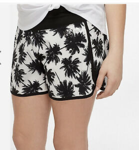 Nwt Justice Pattern Tropical Running Shorts 12 Black& White