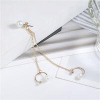 Fashion Punk Rock Chain Tassel Faux Pearl Dangle Cuff Wrap Earrings Ear Clip CB