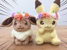 Japan Pokemon Center Easter 2018 Flower Pikachu & Eevee Mascot Plush toy Set