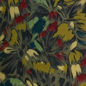 Gray Green Red Floral Silk Tie