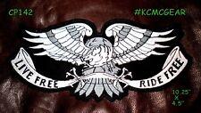"LIVE FREE RIDE FREE SILVER EAGLE for Biker Motorcycle Vest Jacket Back Patch 10"""