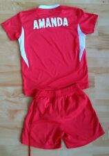 Football sports set personalized with name AMANDA 6 years / 134 cm in red white
