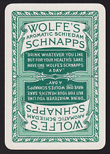 1 Single VINTAGE Playing/Swap Card OLD WIDE ADV WOLFE'S AROMATIC SCHNAPPS Green