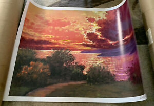 "L. Bel Signoze Landscape Unframed Art Print Sunset Seascape 27""X 33-1/2"""
