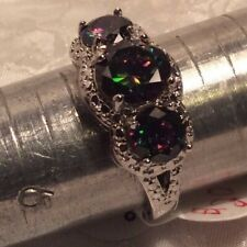 JewelScent Ring Size 10, Simulated Mystic Topaz, Rhodium Plated Brass, SG46