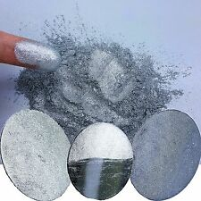 Liquid Diamonds Silver Metallic Chrome Nail Glitter Powder Dust!
