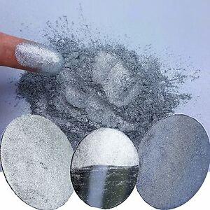 Liquid Diamonds Silver Metallic Chrome Nail Glitter Powder Dust!