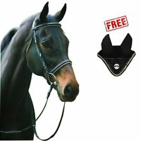 Henri de Rivel Horse Dressage Bridle and Web Reins with FREE Fly Veil   Eques...