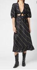 Ganni Black Linen & Silk-Blend Floral Print Midi Dress With Cut-Outs EU 36