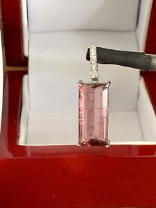 18K White Gold Natural Emerald Cut 10.40CT Pink Tourmaline H/VSDiamond Pendant