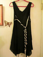 Can Cun Mexico - Black Dress w/Braided Belt -  Asymmetrical Hemline  -  Size S