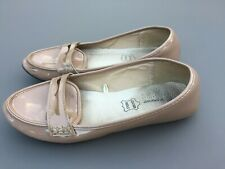 Ladies Flat Loafer Shoe 5 38 Nude Beige Patent Smart Work Leather Insole Casual