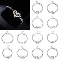Charm Infinity Love Heart Stainless Steel Adjustable Chain Bracelet Jewellery