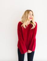 LC Lauren Conrad Women's Size Medium Fuzzy Bell Sleeve Sweater Red Soft