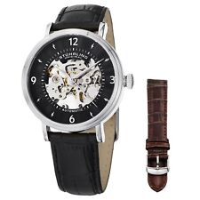 Stuhrling 647 01set Men's Legacy Automatic Skeleton Black Additional Strap Watch