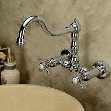 Chrome Polish Bathroom Sink Faucet Swivel Spout Dual Handle Mixer Tap Wall Mount