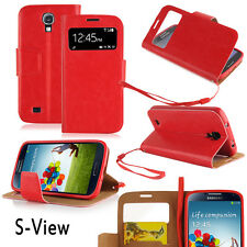 Samsung Galaxy S4 Cover rot Hülle S-View Stand Case Schutz Touch Display