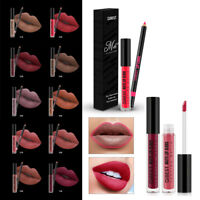Qibest Make Up Set Matte Lipstick Waterproof Liquid Lip Gloss Liner Pencil Kit