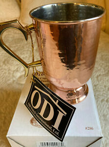 """Old Dutch Solid Copper Hammered Tankard, Brass Handle, 5.5"""" NEW IN BOX FREE SHIP"""