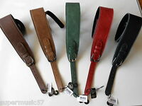 "UK MADE 2.75"" SOFTEE ADJUSTABLE BUCKLE LEATHER PADDED GUITAR STRAP - 5 COLOURS"